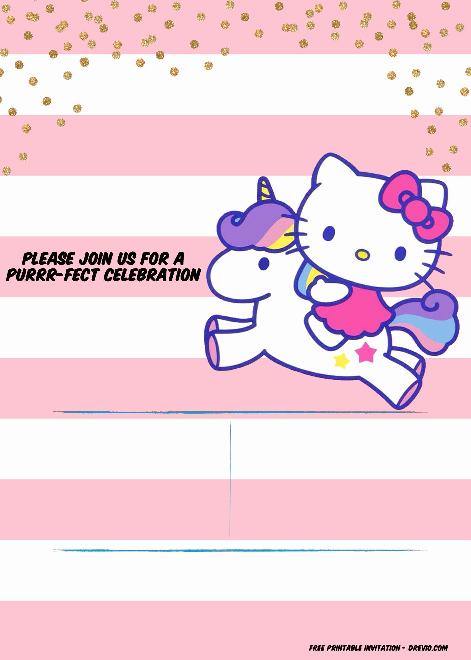 Hello Kitty Invitation Templates Lovely Hello Kitty Invitation Template – Portrait Mode