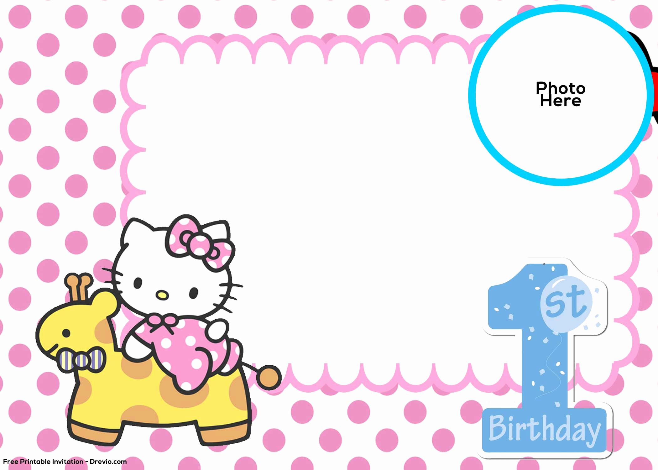 Hello Kitty Invitation Templates Luxury Free Hello Kitty 1st Birthday Invitation Template