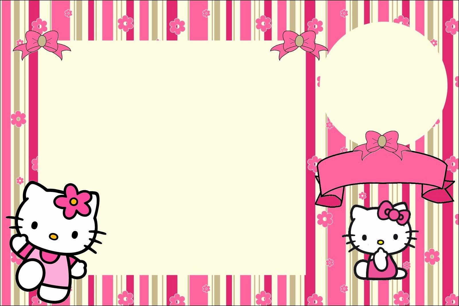 Hello Kitty Invitation Templates Unique Hello Kitty with Flowers Free Printable Invitations Oh