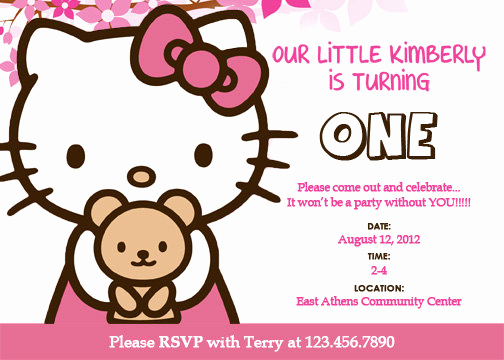 Hello Kitty Printable Invitation Beautiful Free Personalized Hello Kitty Birthday Invitations
