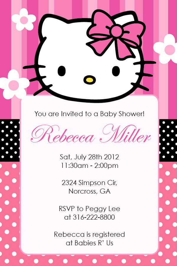 Hello Kitty Printable Invitation Elegant Hello Kitty Girl Birthday Party or Baby Shower Custom