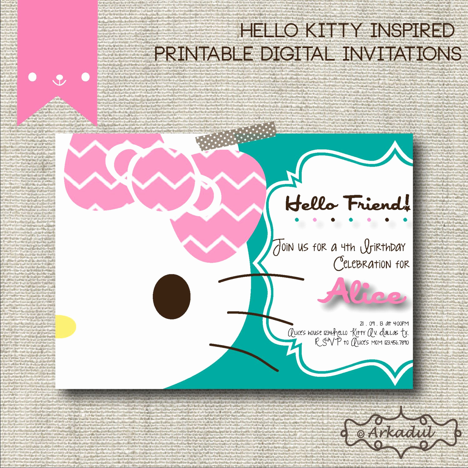 Hello Kitty Printable Invitation Elegant Hello Kitty Inspired Birthday Invitation Diy Printable