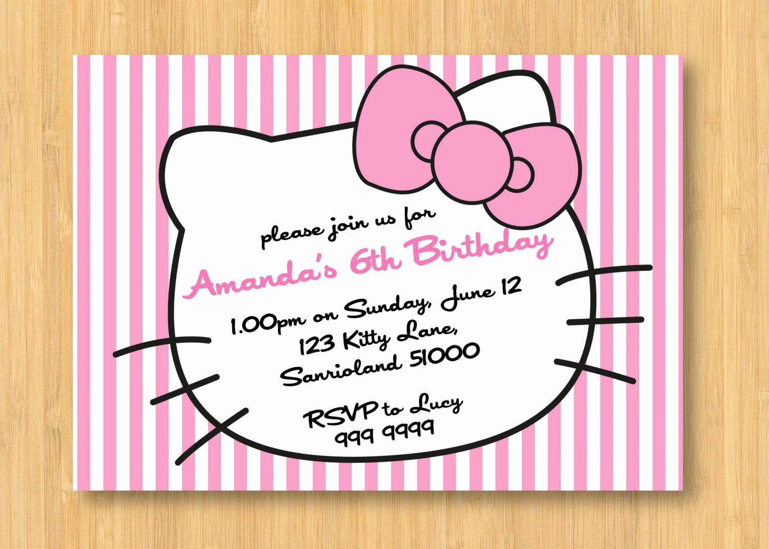 Hello Kitty Printable Invitation Fresh Hello Kitty Printable Birthday Party Invitation