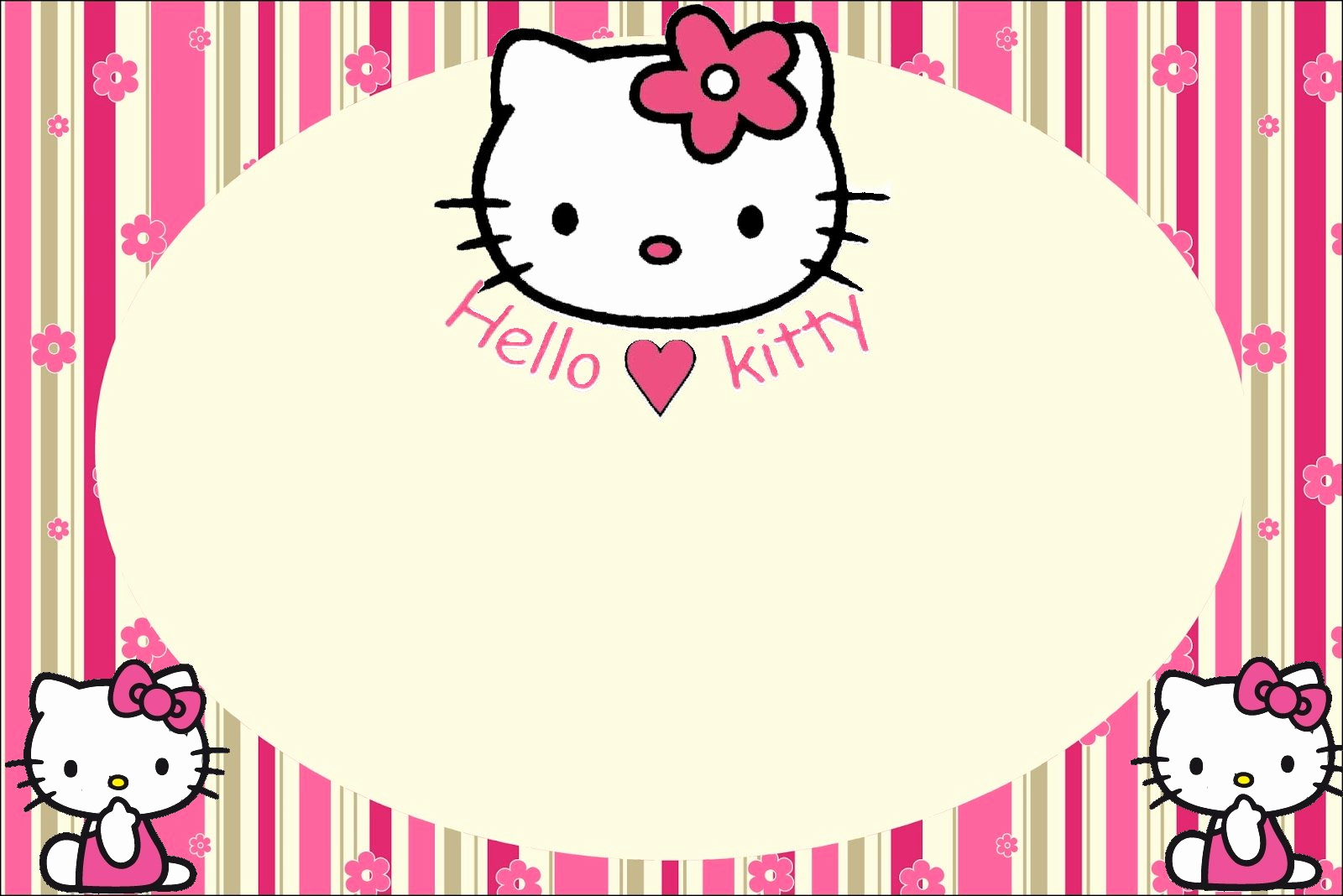 Hello Kitty Printable Invitation Inspirational Hello Kitty with Flowers Free Printable Invitations