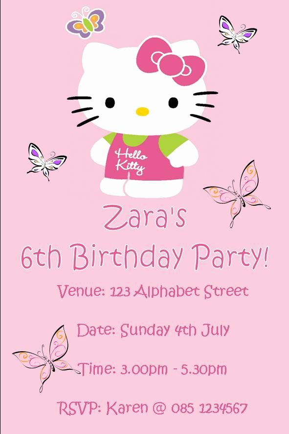 Hello Kitty Printable Invitation Luxury Personalised Hello Kitty Invitations