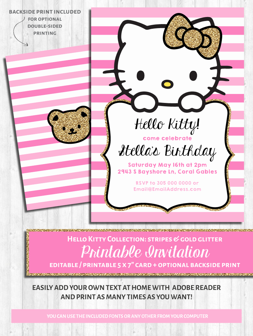 Hello Kitty Printable Invitation Unique Hello Kitty Party Invitations Pink & Gold Glitter