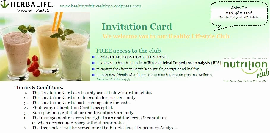 Herbalife Shake Party Invitation Awesome Herbalife Nutrition Club Invitation