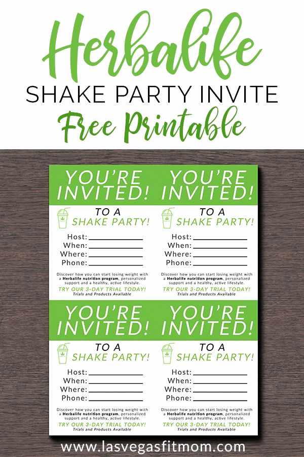 Herbalife Shake Party Invitation Elegant Herbalife Shake Party Invites – Free Printable