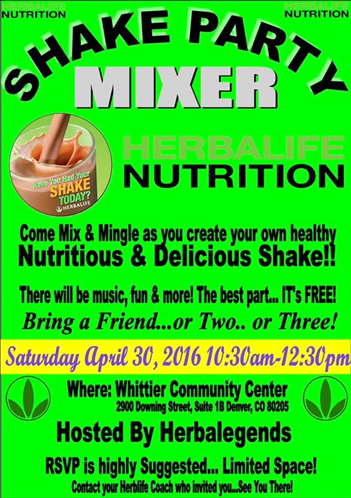 Herbalife Shake Party Invitation Lovely Shake Party Mixer at Whittier Munity Center Denver