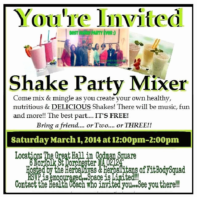 Herbalife Shake Party Invitation Unique Herbalife Invitation Card