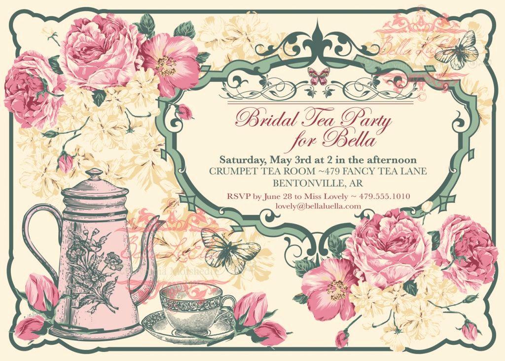 Hi Tea Invitation Templates Awesome Free Vintage Tea Party Invitation Template
