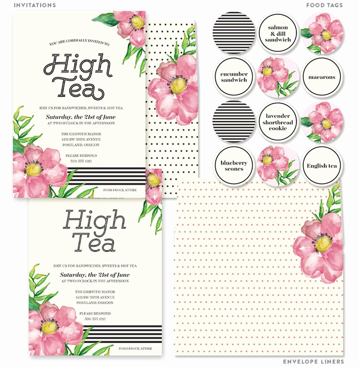 Hi Tea Invitation Templates Awesome Printable High Tea Party Invitations