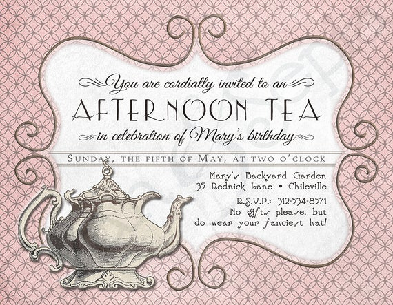 Hi Tea Invitation Templates Awesome Printable Tea Party Birthday Invitation 4 25 X by Cyanandsepia