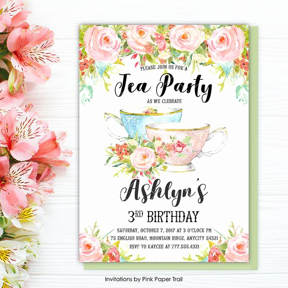 Hi Tea Invitation Templates Awesome Tea Party Birthday Invitation Floral Tea Party Floral High
