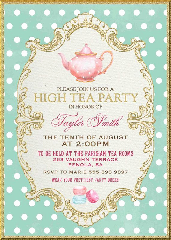 Hi Tea Invitation Templates Beautiful Tea Party Invitation High Tea Bridal Shower by