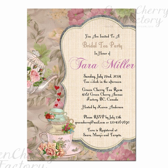 Hi Tea Invitation Templates Elegant Items Similar to Shabby Spring Bridal Shower High Tea