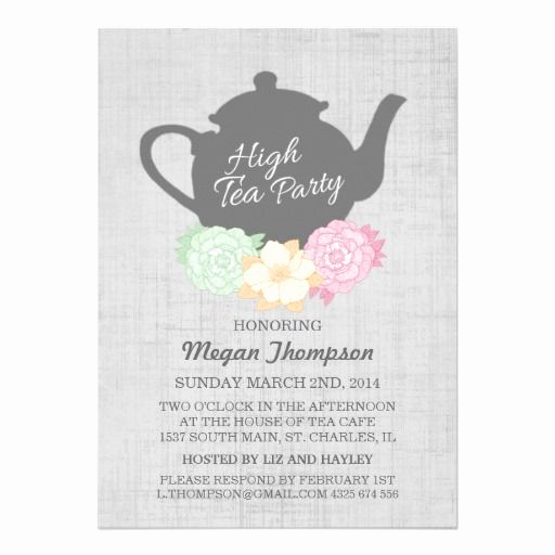 Hi Tea Invitation Templates Elegant Teapot High Tea Invitation Zazzle In 2019