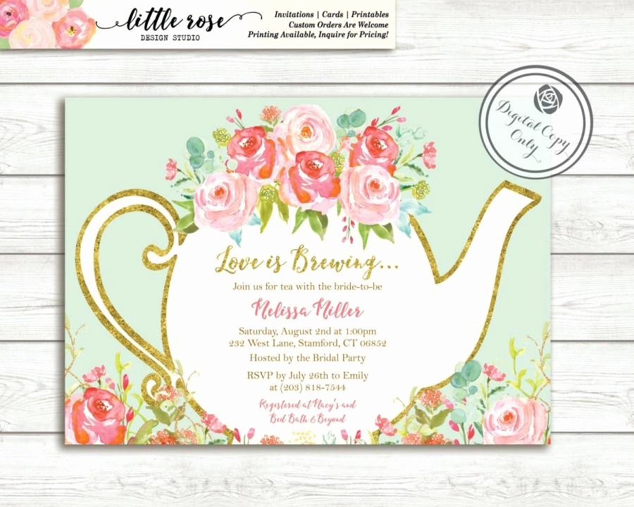Hi Tea Invitation Templates Lovely Love is Brewing Bridal Shower Invitation Garden Tea