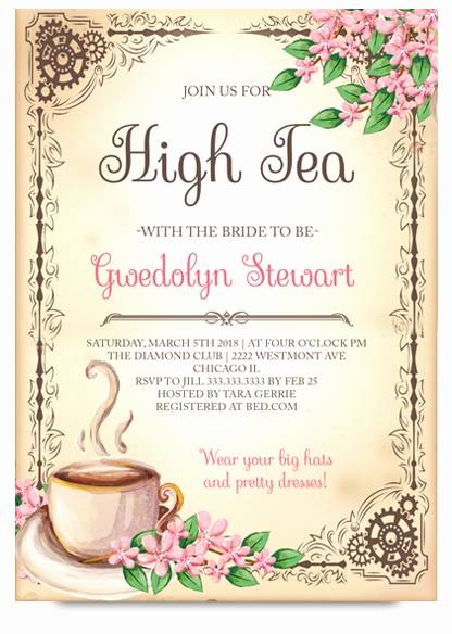 Hi Tea Invitation Templates New High Tea Bridal Tea Party Invitation Tea Bridal Shower
