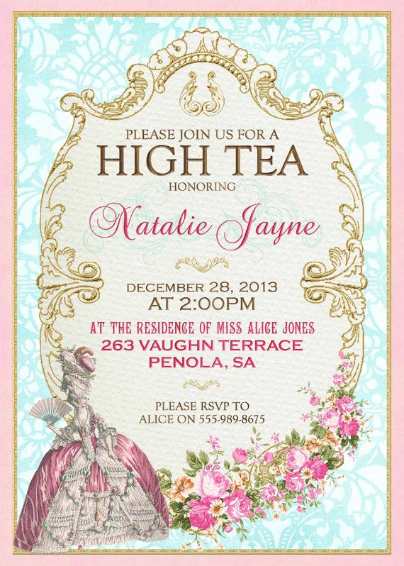 Hi Tea Invitation Templates New Marie Antoinette High Tea Invitation French Tea Party for