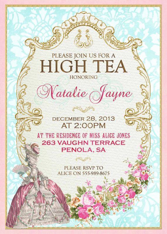 Hi Tea Invitation Templates New Marie Antoinette High Tea Invitation French Tea Party for