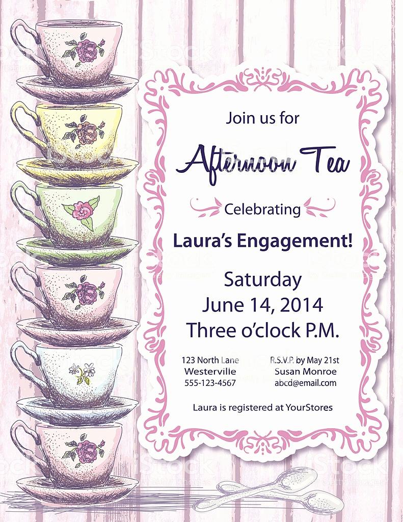 Hi Tea Invitation Templates Unique Tea Party Invitation Template Stock Vector Art & More