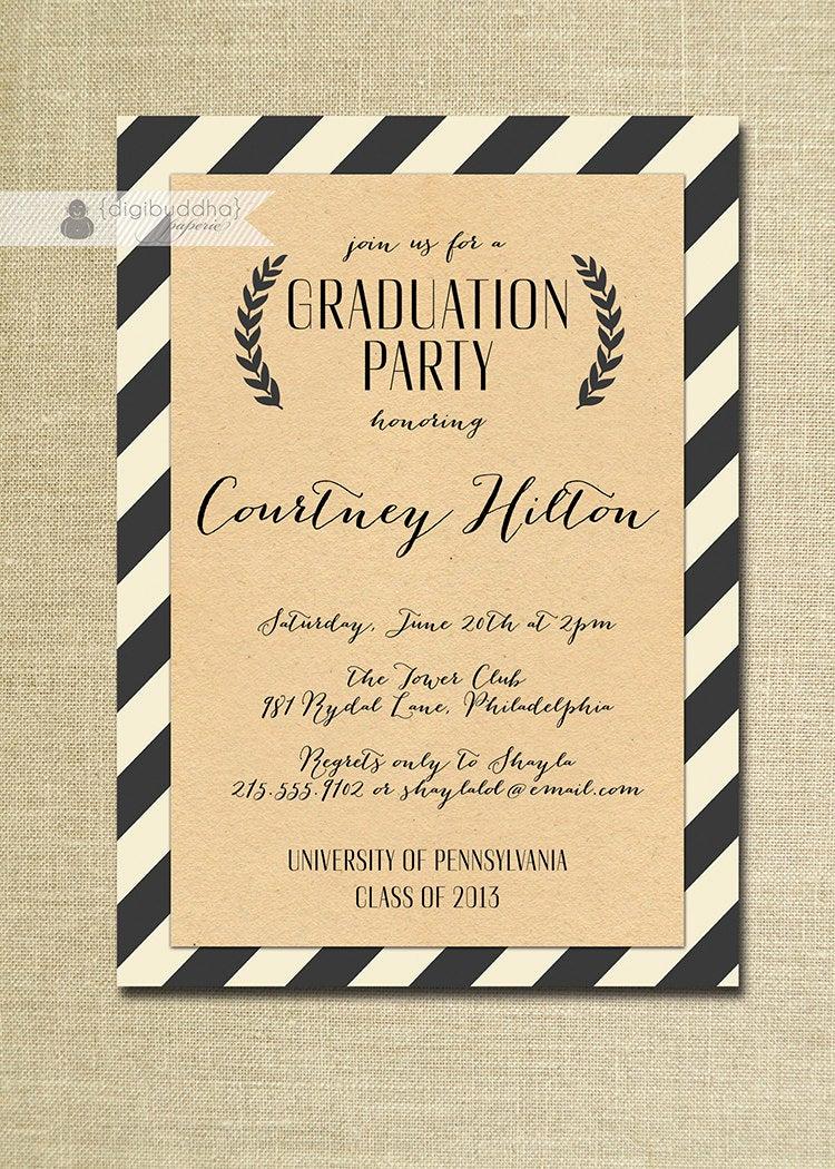 High School Graduation Ceremony Invitation Luxury Kraft Graduation Invitation Script Black & F White Striped