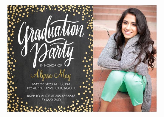 High School Graduation Invitation Awesome Golden Confetti High School Graduation Announcements