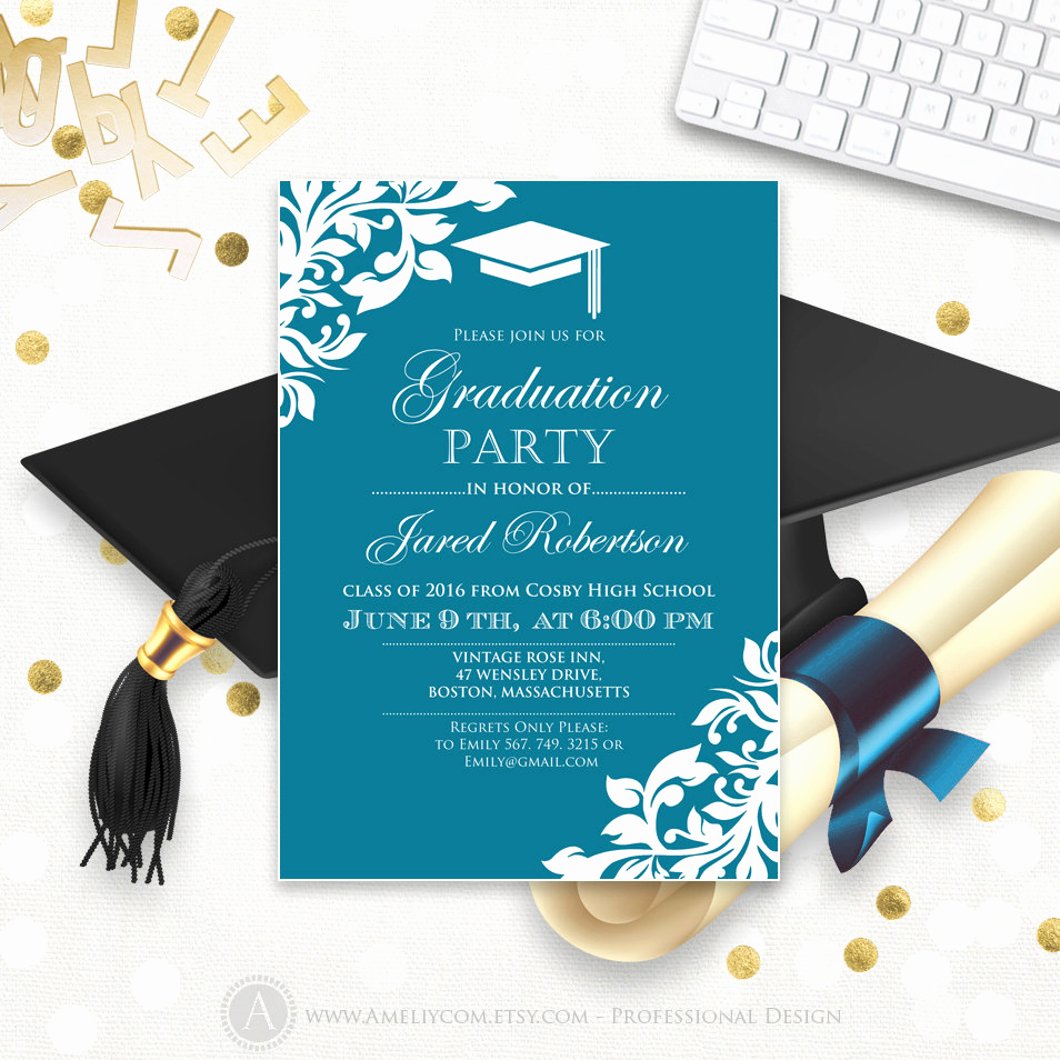 High School Graduation Invitation Cards Fresh Printable Graduation Party Invitation Template Blue Teal High