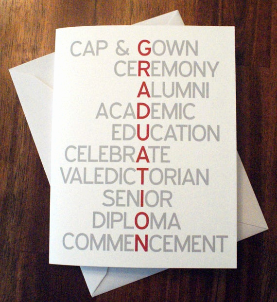 High School Graduation Invitation Cards New Items Similar to Graduation Card Thank You Card