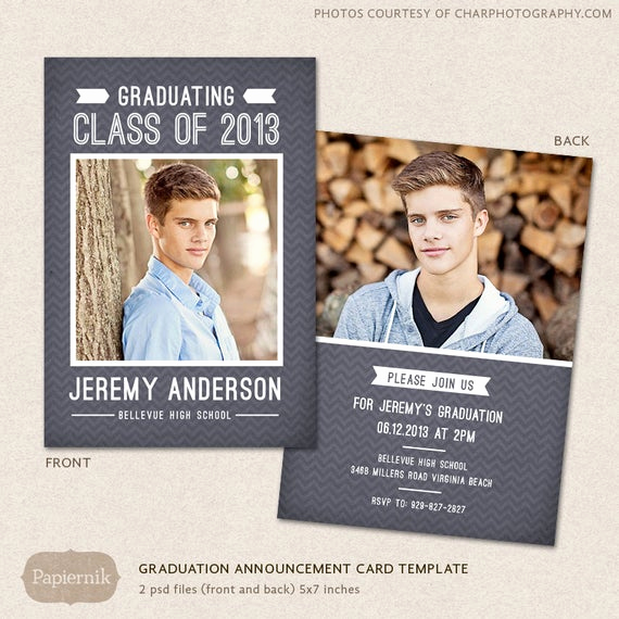High School Graduation Invitation Cards New Senior Graduation Announcement Template for Graphers Psd
