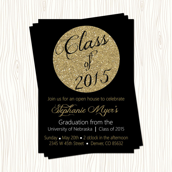 High School Graduation Invitation Cards Unique Black Gold Glitter High School or College Graduation