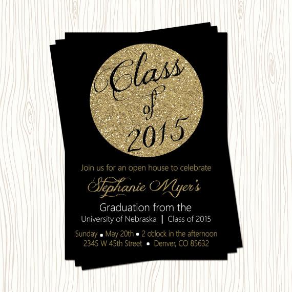 High School Graduation Invitation Cards Unique Black Gold Glitter High School or College Graduation
