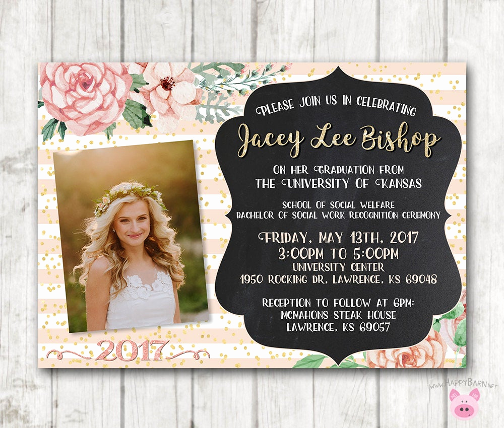 High School Graduation Invitation Ideas Unique Printable Graduation Invitations Floral Graduation Invites