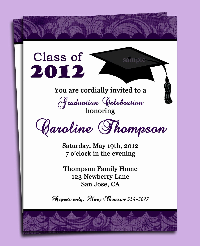 High School Graduation Invitation Quotes New Graduation Party or Announcement Invitation Printable or