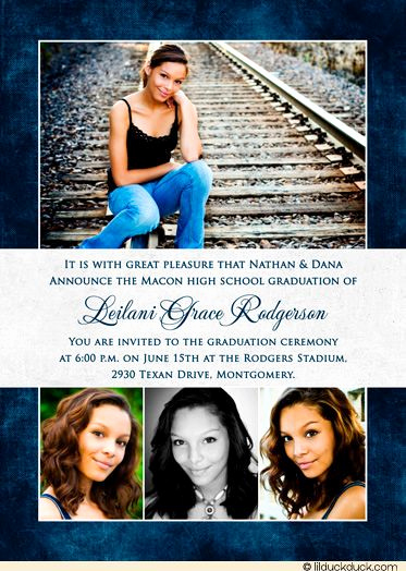 High School Graduation Invitation Wording Awesome Gray Graduation Invitation Navy Blue Senior