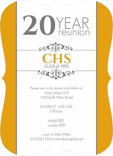 High School Reunion Invitation Template Awesome Classic Colors 20 Year Class Reunion Invitation by