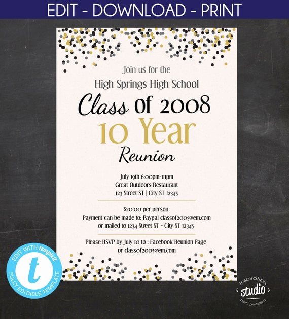 High School Reunion Invitation Template Beautiful High School Reunion College Reunion Confetti Printable