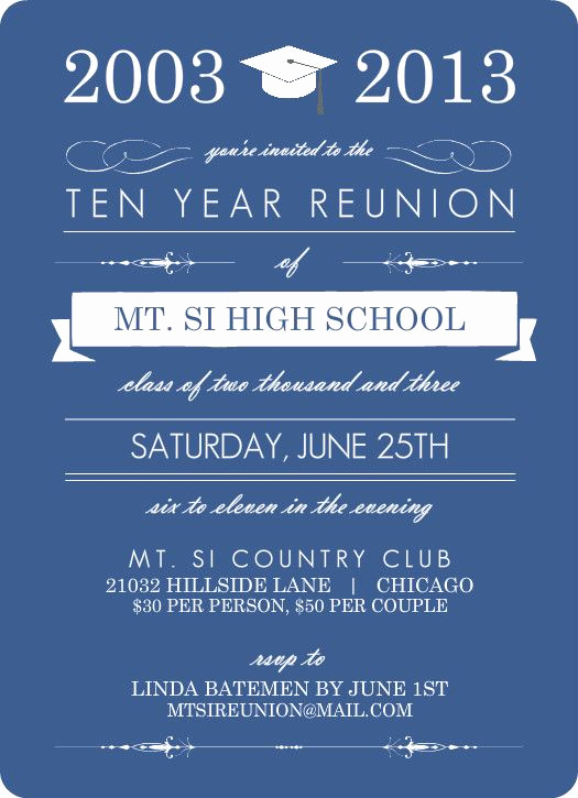High School Reunion Invitation Wording Elegant Blue Banner Class Reunion Invitation