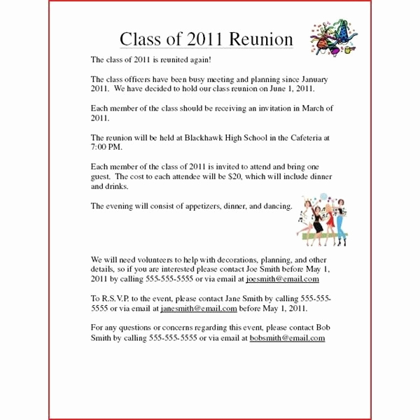 class reunion invitation examples