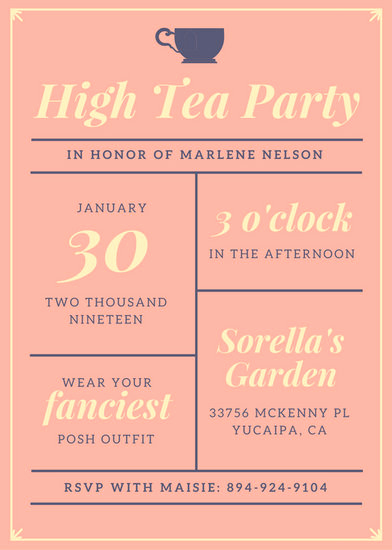 High Tea Invitation Template Beautiful Customize 3 999 Tea Party Invitation Templates Online Canva