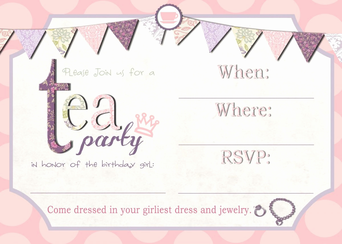 High Tea Invitation Template Fresh Free Tea Party Invitation Templates