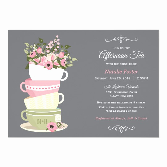 High Tea Invitation Template Inspirational afternoon Tea Bridal Shower Invitiation Invitation