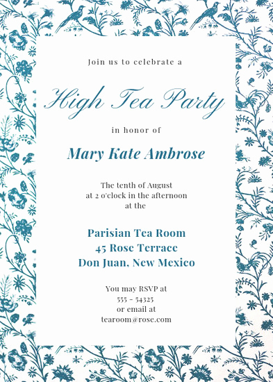 High Tea Invitation Template Lovely Customize 2 892 Tea Party Invitation Templates Online Canva