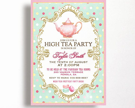 High Tea Invitation Template Lovely High Tea Invitation for A Tea Party High Tea or Bridal
