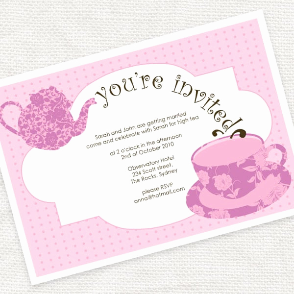 High Tea Invitation Template Lovely High Tea Invitation Template