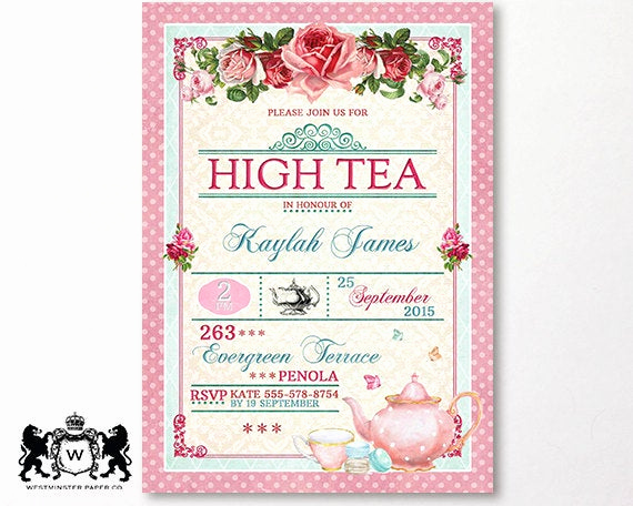 High Tea Invitation Template Luxury Printable Shabby Chic Wedding Invitation Templates