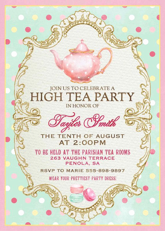 High Tea Invitation Wording Awesome High Tea Invitation for Kitchen Tea Tea by