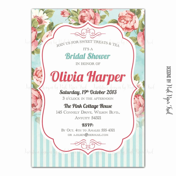 High Tea Invitation Wording Beautiful Shabby Chic Invitation Floral Tea Party High Tea Bridal Shower
