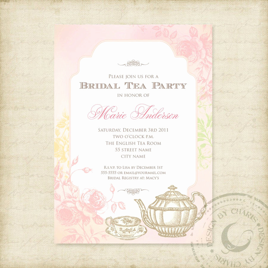 High Tea Invitation Wording Fresh Shabby Chic Bridal Tea Party Printable Invitation